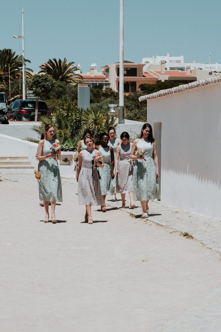 bridesmaids arriving to ceremony venue