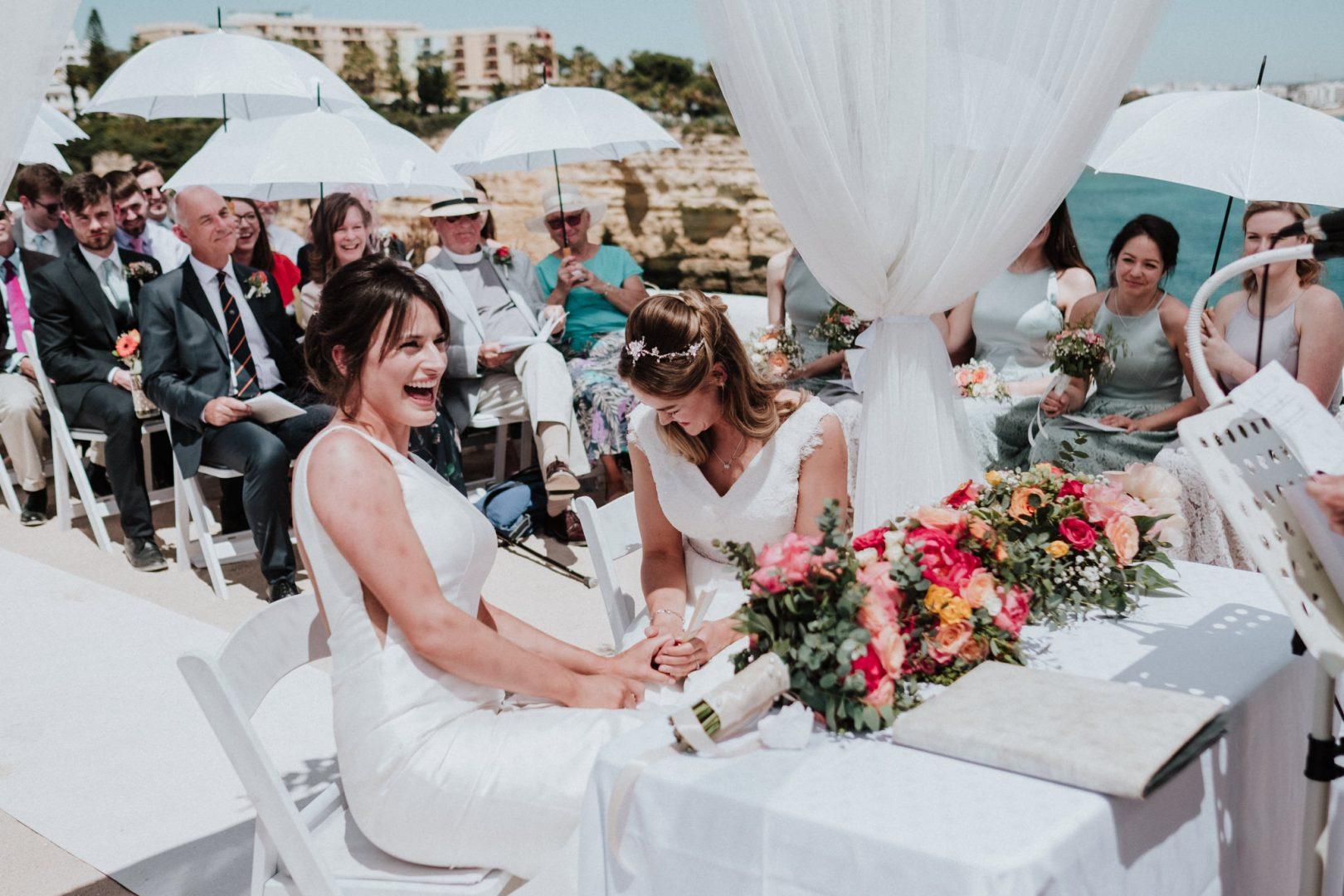 same sex wedding ceremony Igreja de Nossa Senhora da Rocha in Porches, Portugal